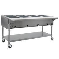 Eagle Group PDHT4-240-3 Four Pan Open Well Portable Electric Hot Food Table with Galvanized Open Base - 240V, 3 Phase