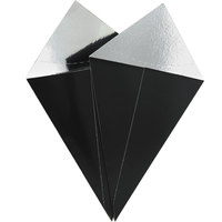GET 4-CC500-BK 12 inch x 4 1/2 inch Black Food Safe Take-Away Cone with Foil Lining - 500/Case