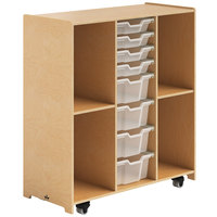 Whitney Brothers WB1820 Mobile Backpack Storage Cabinet with Trays - 18 inch x 40 1/2 inch x 44 1/2 inch
