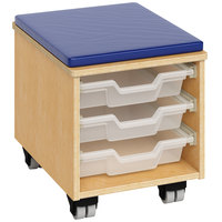 Whitney Brothers WB1811 Mobile Teacher's Stool with Trays - 18 1/2 inch x 14 1/2 inch x 16 1/2 inch