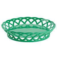 GET RB-860-FG Forest Green Round 10 1/2 inch Plastic Fast Food Basket 12 / Pack