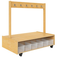 Whitney Brothers WB1733 Mobile 12-Spot Island Coat Bench - 29 inch x 48 inch x 48 11/16 inch