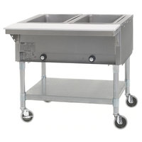 Eagle Group PDHT2-240-3 Two Pan Open Well Portable Electric Hot Food Table with Galvanized Open Base - 240V, 3 Phase
