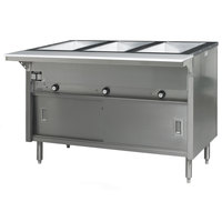 Eagle Group HT3CB-240-3 Spec Master Series Three Pan Open Well Electric Hot Food Table with Sliding Doors - 240V, 3 Phase
