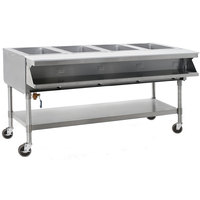 Eagle Group SPHT4-240-3 Four Pan Sealed Well Portable Hot Food Table with Undershelf - 240V, 3 Phase