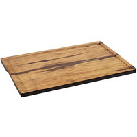 GET SB-1409-ACW Madison Avenue / Granville 14 inch x 9 inch Rectangular Faux Acacia Wood Melamine Display Board with Ridge and Grip Handles