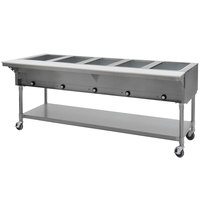 Eagle Group PDHT5-240-3 Five Pan Open Well Portable Electric Hot Food Table with Galvanized Open Base - 240V, 3 Phase