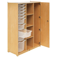Whitney Brothers WB1810 Teacher's Three-Column Wardrobe with Trays and Locking Door - 18 1/2 inch x 40 1/2 inch x 58 11/16 inch