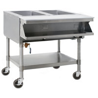 Eagle Group SPHT2-240-3 Two Pan Sealed Well Portable Hot Food Table with Undershelf - 240V, 3 Phase
