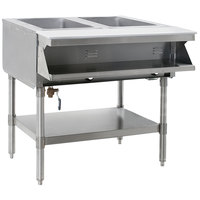 Eagle Group SHT2-240 Two Pan Sealed Well Stationary Hot Food Table with Undershelf - 240V