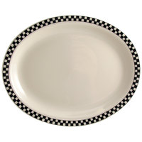 Homer Laughlin Black Checkers 12 1/2 inch x 10 1/4 inch Oval Creamy White / Off White China Platter - 12/Case