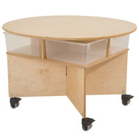 Whitney Brothers WB1816 Mobile Four-Spot Collaboration Table with Trays - 29 1/2 inch x 36 inch x 22 inch