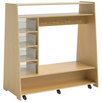 Whitney Brothers WB1734 Mobile Dress Up Center with Trays and Mirror - 23 1/2 inch x 48 inch x 49 3/16 inch