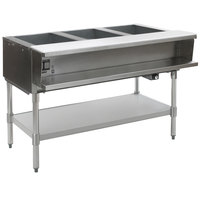 Eagle Group SWT3-240 Three Pan Sealed Well Electric Water Bath Steam Table with Stainless Steel Open Base - 240V
