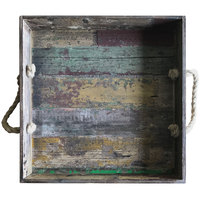 GET WB-1616-RWD Reclaimed Wood Square Serving Tray with Rope Handles