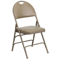 Flash Furniture 4-HA-MC705AV-3-BGE-GG Beige Metal Folding Chair with 1 inch Padded Vinyl Seat and Easy-Carry Handle   - 4/Pack