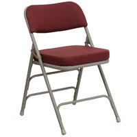 Flash Furniture 4-HA-MC320AF-BG-GG Burgundy Metal Folding Chair with 2 1/2 inch Padded Fabric Seat   - 4/Pack