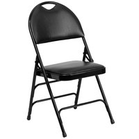 Flash Furniture 4-HA-MC705AV-3-BK-GG Black Metal Folding Chair with 1 inch Padded Vinyl Seat and Easy-Carry Handle   - 4/Pack