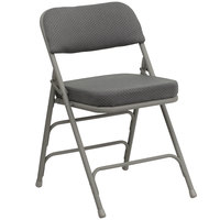 Flash Furniture 4-HA-MC320AF-GRY-GG Gray Metal Folding Chair with 2 1/2 inch Padded Fabric Seat   - 4/Pack