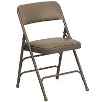 Flash Furniture HA-MC309AV-BGE-GG Beige Metal Folding Chair with 1 inch Padded Vinyl Seat
