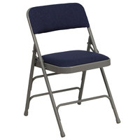 Flash Furniture 4-HA-MC309AF-NVY-GG Navy Blue Metal Folding Chair with 1 inch Padded Fabric Seat   - 4/Pack