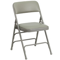 Flash Furniture 4-HA-MC309AV-GY-GG Gray Metal Folding Chair with 1 inch Padded Vinyl Seat   - 4/Pack