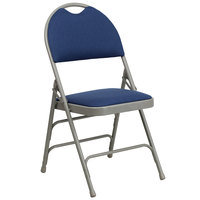 Flash Furniture 4-HA-MC705AF-3-NVY-GG Navy Blue Metal Folding Chair with 1 inch Padded Fabric Seat and Easy-Carry Handle   - 4/Pack