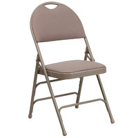 Flash Furniture 4-HA-MC705AF-3-BGE-GG Beige Metal Folding Chair with 1 inch Padded Fabric Seat and Easy-Carry Handle   - 4/Pack
