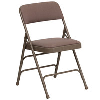 Flash Furniture 4-HA-MC309AF-BGE-GG Beige Metal Folding Chair with 1 inch Padded Fabric Seat   - 4/Pack