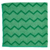 Rubbermaid FGQ62000GR00 HYGEN 16 inch x 16 inch Green Microfiber Cloth - 12/Pack