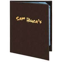 Menu Solutions 820A Slim Line 5 1/2 inch x 8 1/2 inch Customizable 2 View Menu Cover