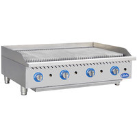 Globe GCB48G-SR 48 inch Gas Charbroiler with Stainless Steel Radiants - 160,000 BTU