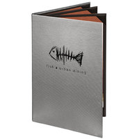 Menu Solutions 860D Slim Line 8 1/2 inch x 14 inch Customizable Quad Panel 6 View Booklet Menu Cover