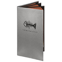 Menu Solutions 860B Slim Line 5 1/2 inch x 11 inch Customizable Quad Panel 6 View Booklet Menu Cover