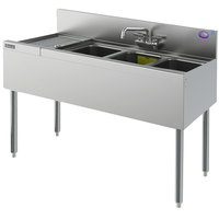 Perlick TS43L 3 Bowl Stainless Steel Underbar Sink with 12 inch Left Drainboard and 6 inch Backsplash - 48 inch x 18 9/16 inch