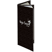 Menu Solutions 840BA Slim Line 4 1/4 inch x 11 inch Customizable Triple Panel 4 View Booklet Menu Cover