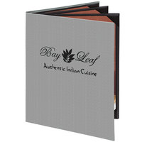 Menu Solutions 860C Slim Line 8 1/2 inch x 11 inch Customizable Quad Panel 6 View Booklet Menu Cover