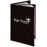 Menu Solutions 840D Slim Line 8 1/2 inch x 14 inch Customizable Triple Panel 4 View Booklet Menu Cover