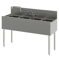 Perlick TS44C 4 Bowl Stainless Steel Underbar Sink with 6 inch Backsplash - 48 inch x 18 9/16 inch