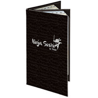 Menu Solutions 840B Slim Line 5 1/2 inch x 11 inch Customizable Triple Panel 4 View Booklet Menu Cover