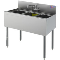 Perlick TS33C 3 Bowl Stainless Steel Underbar Sink with 6 inch Backsplash - 36 inch x 18 9/16 inch