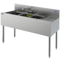 Perlick TS43R 3 Bowl Stainless Steel Underbar Sink with 12 inch Right Drainboard and 6 inch Backsplash - 48 inch x 18 9/16 inch