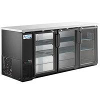 Avantco UBB-378-G-HC 79 inch Black Counter Height Glass Door Back Bar Refrigerator with LED Lighting