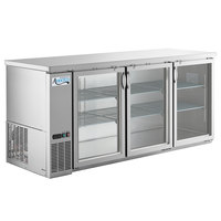 Avantco UBB-378-G-HC-S 79 inch Stainless Steel Counter Height Glass Door Back Bar Refrigerator with LED Lighting