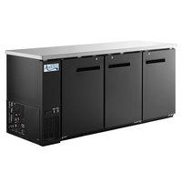 Avantco UBB-378-HC 79 inch Black Counter Height Solid Door Back Bar Refrigerator with LED Lighting