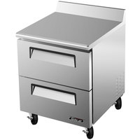 Turbo Air TWR-28SD-D2 27 inch Super Deluxe Two Drawer Worktop Refrigerator - 7 Cu. Ft.