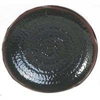 Tenmoku Black 14 inch Lotus Shaped Melamine Plate - 12 / Pack