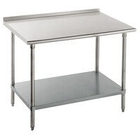 14 Gauge Advance Tabco FLG-365 36 inch x 60 inch Stainless Steel Commercial Work Table with Undershelf and 1 1/2 inch Backsplash