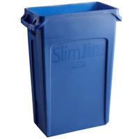 Rubbermaid 1956185 92 Qt. / 23 Gallon Slim Jim Blue Trash Can