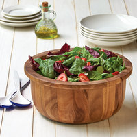 12 1/2 inch Acacia Wood Wide Base Salad Bowl with Rim